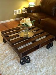 Lovable Rustic Coffee Tables With Wheels Diy Pallet Coffee Table