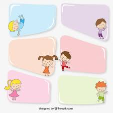 Colorful Banners With Kids Free Vector