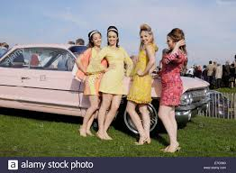 Four Pretty Young Girls In There Late Teens Early Twenties Dressed Vintage 60s Fashion Clothing