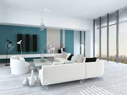 ziemlich blau und weiß wohnzimmer innenraum mit rustikalen weiß lackierten holzböden eine moderne modulare weiße sitzgruppe sehen fenster und blauen