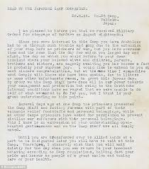 Japanese POW camp mander s letter to save his own skin after