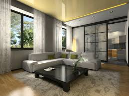Small Living Room With Grey Furniture Black Coffee Table On Light Wood Floor Large