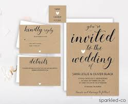 Rustic Wedding Invitation Template By Sparkledco On Etsy