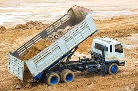 100 Large Dump Trucks Big Dump Truck Working Delivery Of Sand To The Construction Site