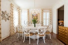 White Gold Lacquer Table Buffet Dining Room Window Printing
