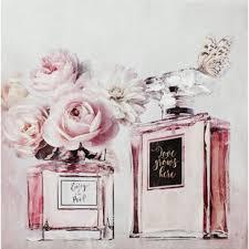 leinwandbild parfümflaschen mit blumen