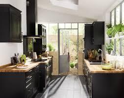 cuisine bois plan de travail noir idée cuisine noir laque plan de travail bois lapeyre plan de