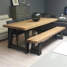 Wood And Metal Dining Bench Perfect Ideas Table Vibrant Amp