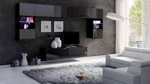 moderne designer wohnwand calabria 2 lowboard hängend schwarz hochglanz