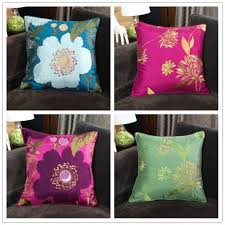 chinoiserie flower embroidered throw pillows for dark brown couch