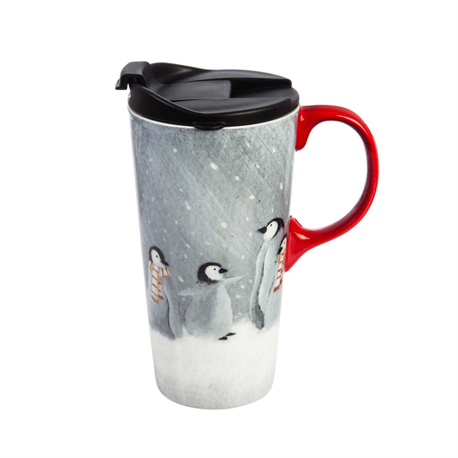 Cypress Home Festive Penguins Ceramic Travel Cup - 17 oz