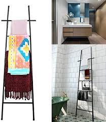 m top leiter handtuchhalter für badezimmer schwarz mit 6 sprossen leiter handtuchhalter für das badezimmer edelstahl dekorative leiter schwarz