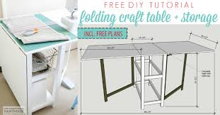 Free Plans To Build A Computer Desk by Remodelaholic Foldable Craft Table Made From Scrap Wood
