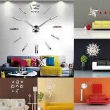 Details About US Modern 3D DIY Mirror Surface Art Wall Clock Sticker Home Office Decor 2019