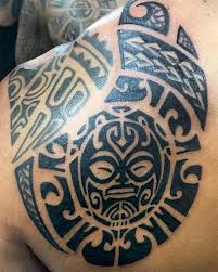 Intense Black Finish Aztec Tribal Back Shoulder Tattoo Design For Guys