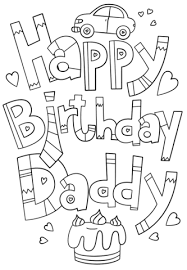 Click To See Printable Version Of Happy Birthday Daddy Doodle Coloring Page