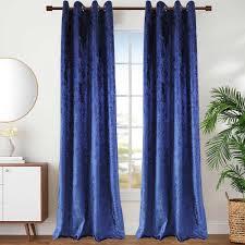 vorhang blau aus samt für schlafzimmer minimalismus