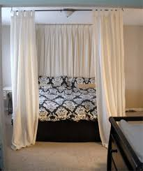 Twin Canopy Bed Drapes by Best 25 Curtain Rod Headboard Ideas On Pinterest Curtains On