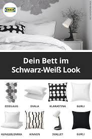 schlafzimmer in schwarz weiß dekorieren ikea bettwäsche