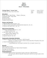 Leadership Scholarship Resume Examples And Sample College Resumes For High School Seniors Of