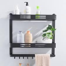 großhandel wandhalterung schwarz aluminium badezimmer regal dusche caddy bad regal mit bar und haken für handtuch shoo regale aufbewahrung küche