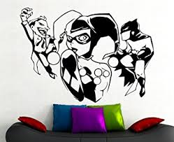Superhero Comic Wall Decor by Amazon Com Harley Quinn And Joker And Batman Wall Sticker Marvel