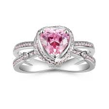 Split Shank Engagement Ring with Pink CZ in Arrow Idea Heart Design