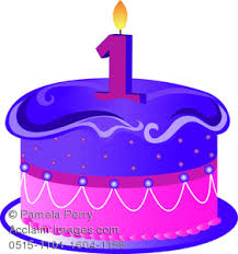 Clip Art Illustration of a Cartoon Birthday Cake With a 1 Candle