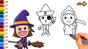 Coloring Pages Set Of Halloween Costumes For Kids