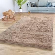 teppich wohnzimmer hochflor shaggy weich modernes einfarbiges design in beige größe 140x200 cm