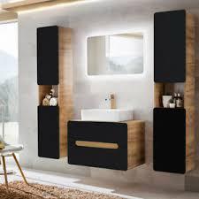 details zu badezimmer badmöbel komplett set anthrazit keramik waschtisch spiegel badschrank