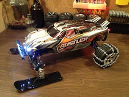 100 Remote Control Gas Trucks My Traxxas Rustler XL5 Front Snow Skis Rear Chains And LED