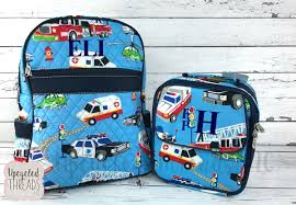 100 Fire Truck Lunch Box Boys Backpack Personalized Kids Backpack Monogrammed