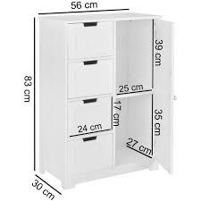 finebuy design badschrank lars landhaus stil mdf holz 56 x 83 x 30 cm weiß badezimmerschrank klein 4 schubladen 1 tür beistellschrank