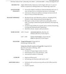 Sample Resume For Medical Laboratory Technician