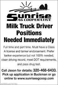 Milk Truck Driver Positions Needed Immediately, Sunrise AG ... Entrylevel Truck Driving Jobs No Experience St Cloud Mn Best 2018 Full Time Log Driver Pittack Logging News For Foodliner Drivers Get Your Dream Job Today Right Turn Recruiting Fleets Seek As Turnover Rate Hits 95 Transport Topics Ownoperator Drive With Us Company Trucking Twin Express Foltz I29 In Iowa With Rick Pt 15 More Are Bring Their Spouses Them On The Road