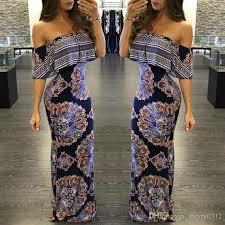 Wrapped Chest Printed Maxi Dresses 2016 Fashion Big Girl Women Famel Off Shoulder Vintage Beach Classical Elegant Cocktail