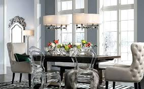 Transitional Dining Room Chandelier A With Two Contemporary Pendants And Floor Lamp