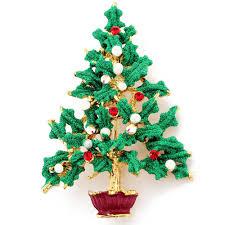 Green Christmas Tree Swarovski Crystal Pin Brooch