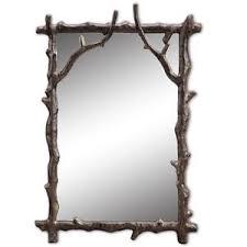 Branch Decorative Wall Mirror Rustic Cabin Lodge Decor Metal Frame