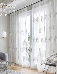 lactraum vorhänge wohnzimmer transparent weiß mit ösen bestickt eukalyptus blätter voile 145 x 245cm