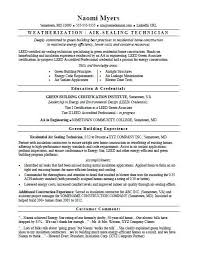 Sample Resume For An Air Sealing Technician