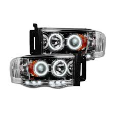 100 Dodge Truck Accessories Clear Chrome LED Halo Headlights Ram 0205 RECON