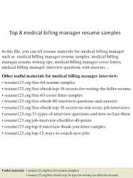 Medical Billing Resume Top 8 Manager Samples In This File You Can Ref Materials Biller Objective Examples