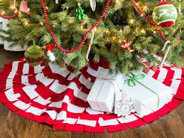 Christmas Tree With Red And White Sunburst Skirt