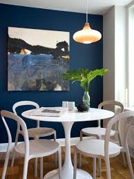Navy Accent Wall Dining Room Contemporary Medium Tone Wood Floor Idea In With Blue Walls Living