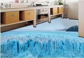 Vinyl Flooring Waterproof Custom 3d Stereoscopic Wallpaper Glacier Snow Bedroom Floor Tiles