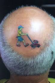 Hair Cut With Grass Cutting Machine Funny Tattoo On Head