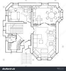 100 Modern Architecture Plans Black White Floor Plan Apartment Stock Vector