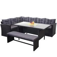 poly rattan garnitur gartengarnitur sitzgruppe lounge esstisch set schwarz kissen dunkelgrau mit bank